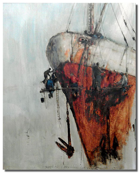 Anthony amos original painting painting the hull for Original modern art for sale