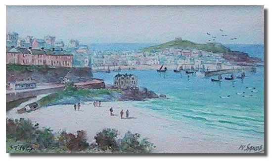 W Sands St Ives Cornwall Watercolour